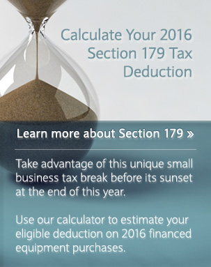 Calculate Your 2016 Section 179 Tax Deduction Take advantage of this unique small business tax break before its sunset at the end of this year. Use our calculator to estimate your eligible deduction on 2016 financed equipment purchases.